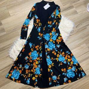 NWT ASOS Blue + Orange Floral Long Sleeve Dress